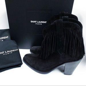 SAINT LAURENT Curtis Suede Fringe Black Boots 6.5